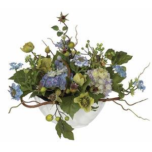 Blue Hydrangea Centerpiece Silk Flower Arrangement