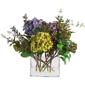 Shop bleeding heart silk flowers bellacor mixed hydrangea with rectangle vase silk flower arrangement mightylinksfo