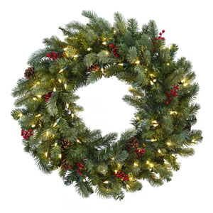 Green 30-Inch Lighted Pine Wreath with Berries and Pine Cones