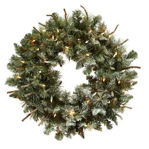 Green 30-Inch Lighted Frosted Pine Wreath