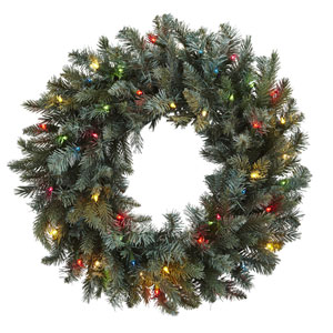 Green 30-Inch Pine Wreath with Colored Lights