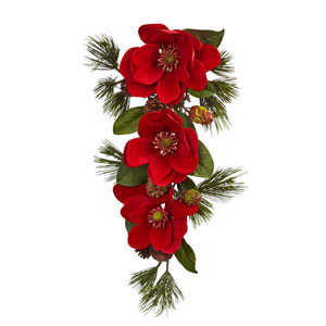 Red 26-Inch Magnolia and Pine Tear Drop