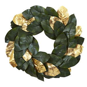 Green 22-Inch Golden Leaf Magnolia Wreath