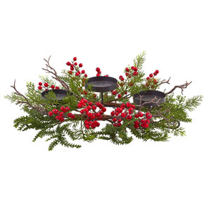 Red and Green Berry and Pine Triple Candleabrum
