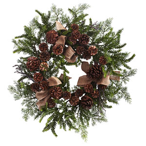 Brown 24-Inch Pine and Pine Cone Wreath with Burlap Bows