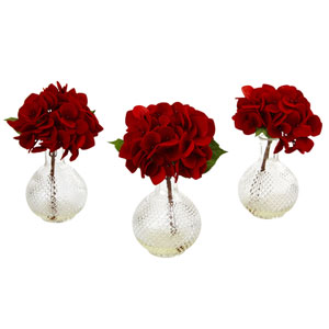 Red Hydrangea with Glass Vase, Set of Three