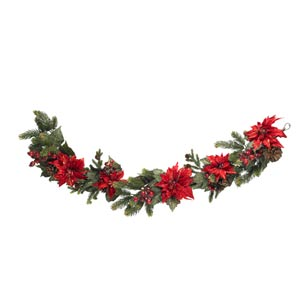60-Inch Poinsettia and Berry Garland
