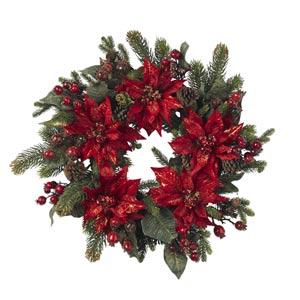 24-Inch Poinsettia and Berry Wreath