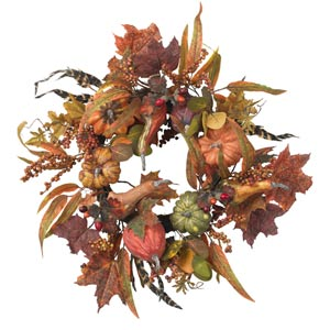 24-Inch Pumpkin and Berry Wreath