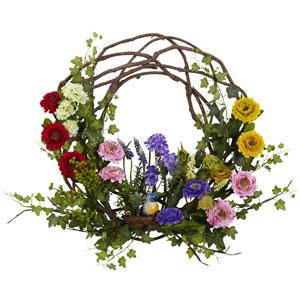 Multicolor 22-Inch Spring Floral Wreath