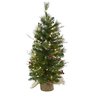 3 Foot Christmas Tree with Berries, Burlap Base and 50 Clear Lights