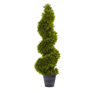 Green 3 Foot Grass Spiral Topiary with Deco Planter