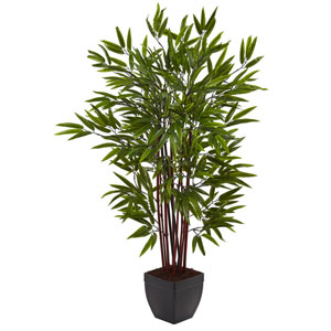 Green 4 Foot Bamboo Silk Tree with Planter