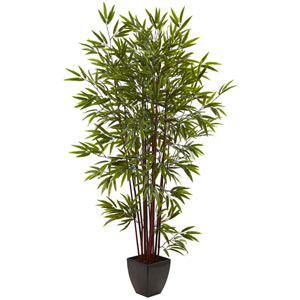 Green 6 Foot Bamboo Silk Tree with Planter