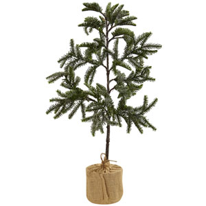 Green 3 Foot Iced Pine Tree with Burlap Base
