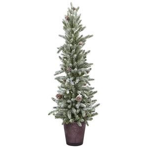 Snowy Mini Pine with Glass Vase