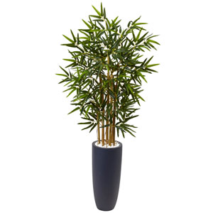 4 Ft. Bamboo Tree in Gray Cylinder Planter