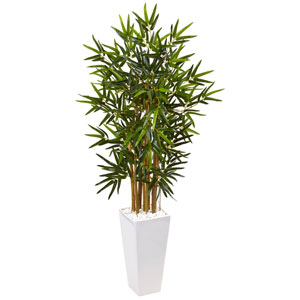 4 Ft. Bamboo Tree in White Tower Planter