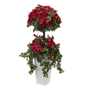 Red 4 Foot Poinsettia Berry Topiary with Decorative Planter