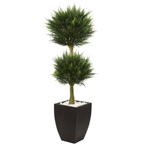 4.5 Ft. Cypress Topiary with Black Planter UV Resistant
