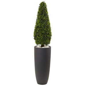50-Inch Boxwood Topiary with Gray Cylindrical Planter UV Resistant