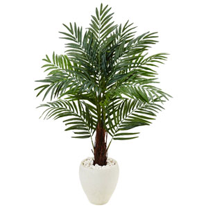 4.5 Ft. Areca Palm Tree in White Oval Planter