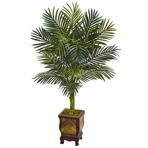4.5 Ft. Golden Cane Palm Tree in Wooden Decorated Planter