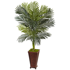 5 Ft. Golden Cane Palm Tree in Decorative Planter