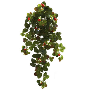 31 In. Strawberry Hanging Bush with Berry, Set of Two