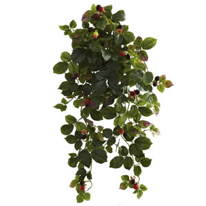 32 In. Raspberry Hanging Bush with Berry, Set of Two