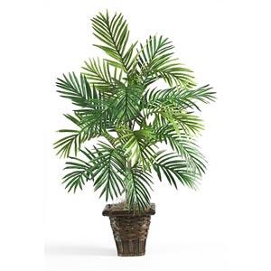 Areca Palm Silk Plant with Wicker Basket