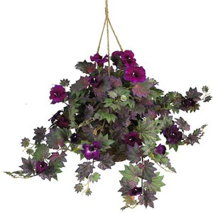 Morning Glory Silk Plant Hanging Basket