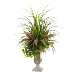 Green 3 Foot Mixed Grass, Dracena, Sage Ivy and Fern with Planter