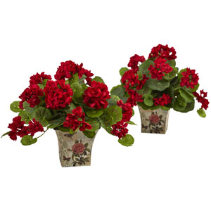 Geranium Flowering Silk Plant with Floral Planter, Set of 2