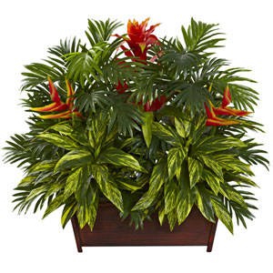 Multicolor Tropical Garden with Wood Planter