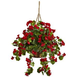 Red Geranium UV Resistant Hanging Basket
