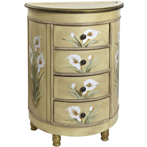 Antique Gold Accessory Table with Calla Lily Floral Art