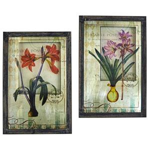 Framed French Floral Art Prints, Set of 2