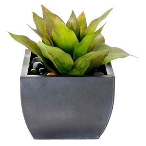 Succulents Faux Agave in Zinc Planter