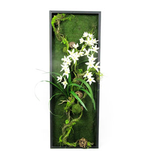 Green and White Faux Moss and Orchids Wall Hanging