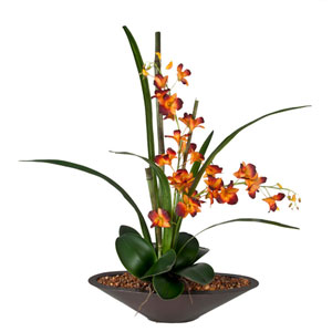 Orchids Faux Arrangement in Oval Container