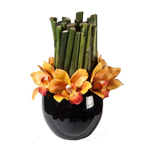 Orchids Faux w/ Bamboo Column