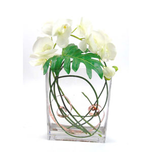Faux Phalaenopsis and Copper in Rectangular Glass