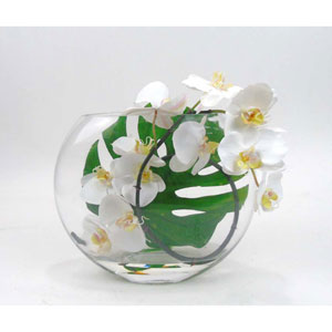 Faux Phalaenopsis Orchids in Moon Vase