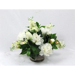 White Mixed Faux Flower Arrangement