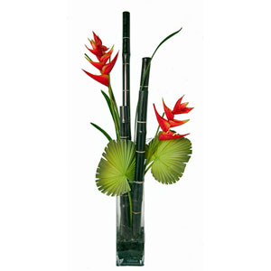 Faux Heliconia w/ Bamboo and Acrylic Water