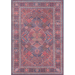 Afshar Navy and Red Rectangular: 7 Ft. 6 In. x 9 Ft. 6 In. Rug