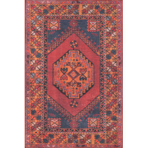 Afshar Medallion Red Rectangular: 7 Ft. 6 In. x 9 Ft. 6 In. Rug