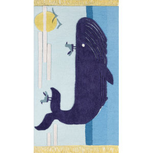 Atticus Blue Whale Rectangular: 3 Ft. x 5 Ft. Rug