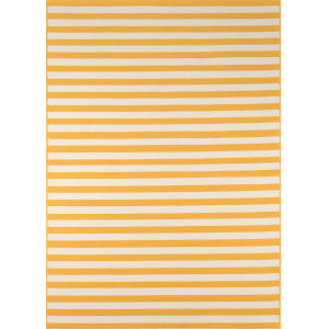 Baja Stripe Yellow Rectangular: 6 Ft. 7 In. x 9 Ft. 6 In. Rug